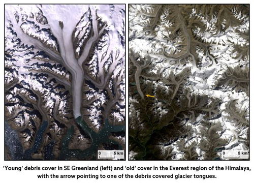 Young' debris cover in SE Greenland (left) and 'old' cover in the everest region of the Himalaya, with the arrow pointing to one of the debris covered glacier tongues.